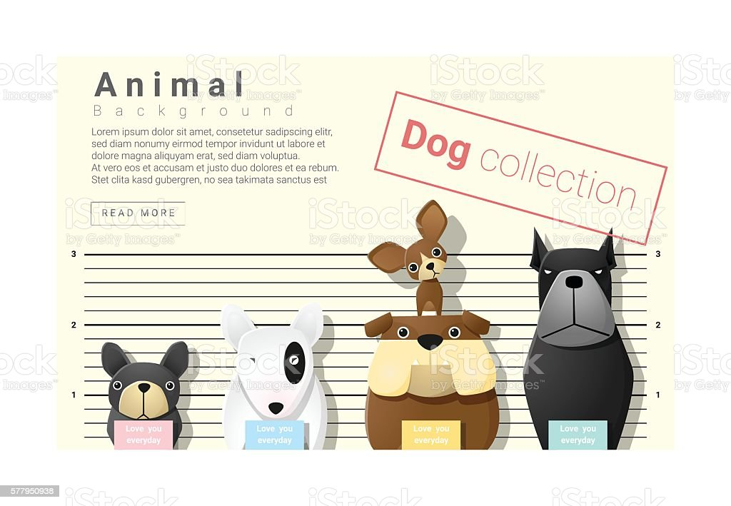 Cute animal family background with Dogs 4 vector art illustration