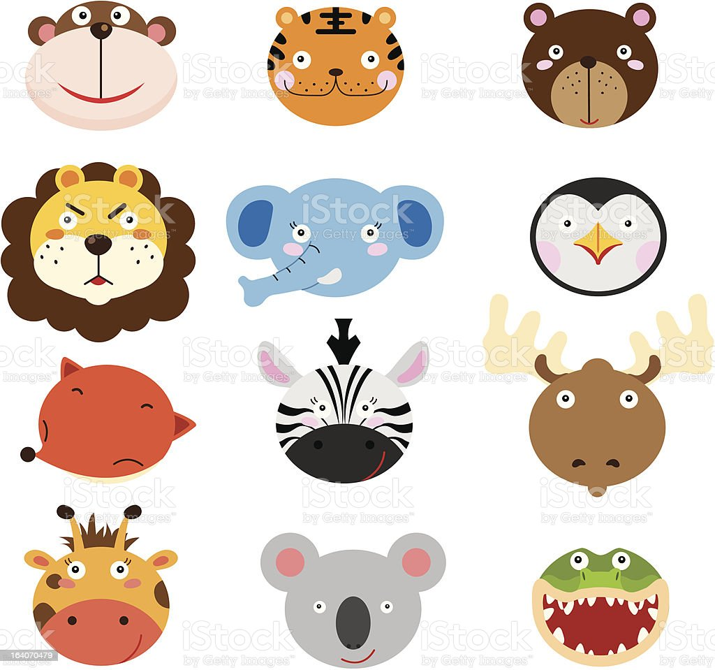 Cute Animal Heads Set royalty-free stock vector art
