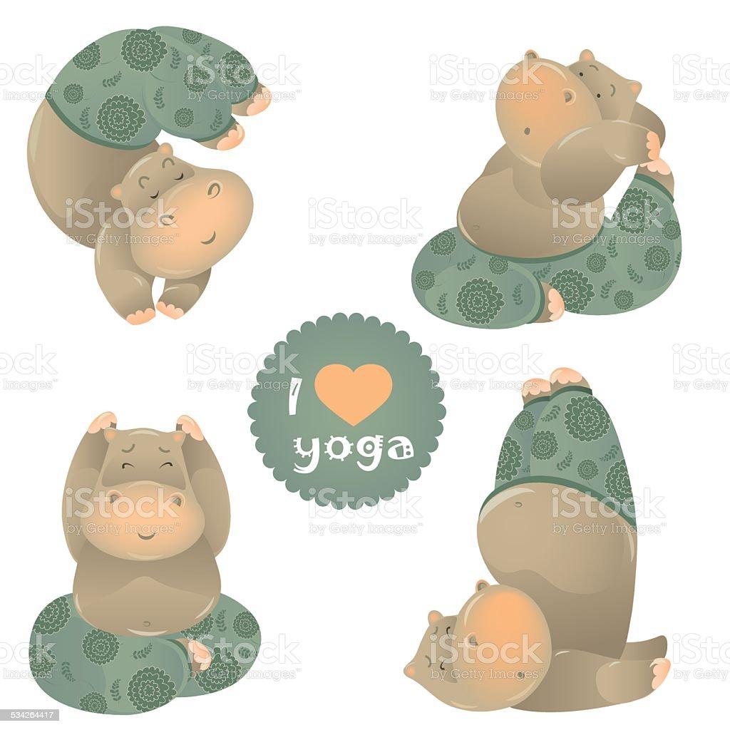 Cute animal illustration of yoga pose vector art illustration