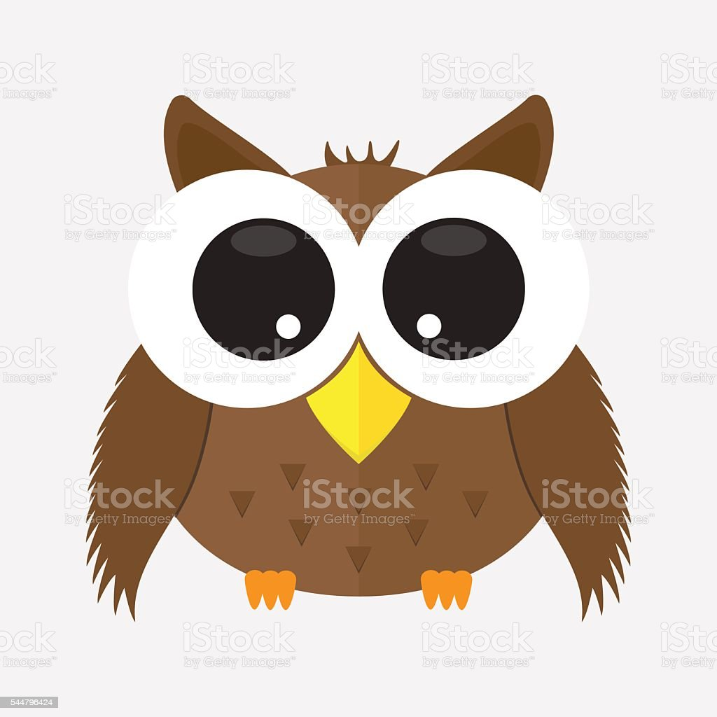 cute animal owl with glass cartoon character icon isolated vector art illustration