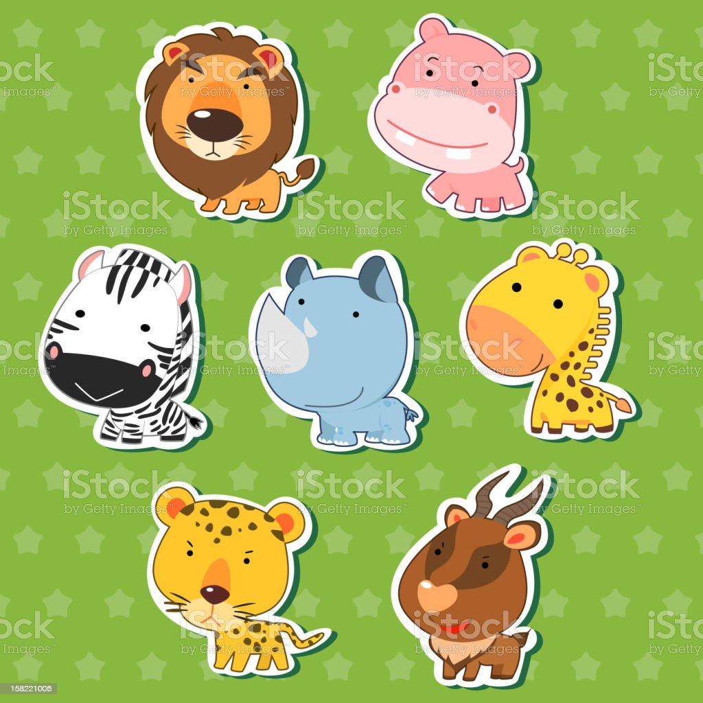 cute animal sticker set royalty-free stock vector art