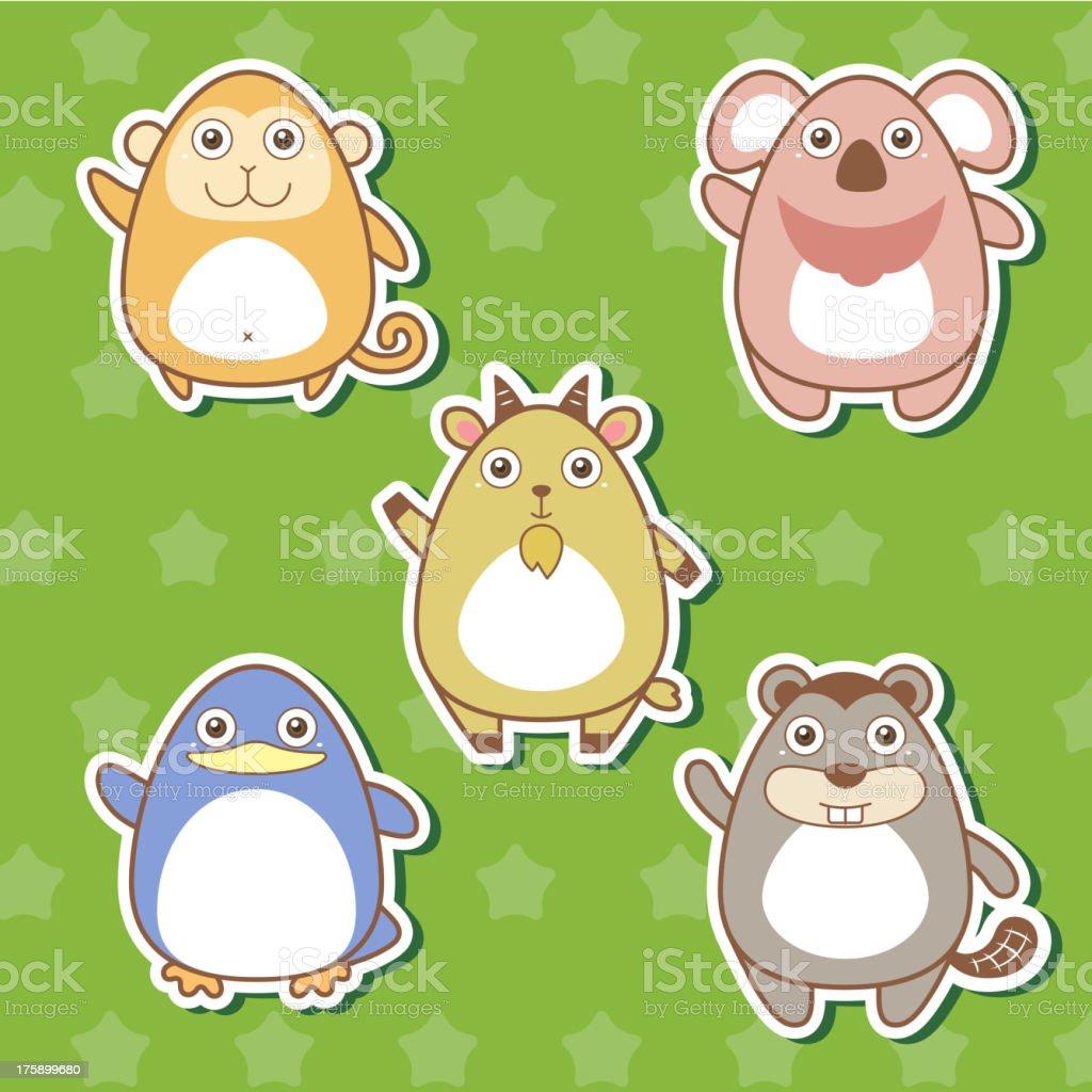 Cute animal stickers vector art illustration