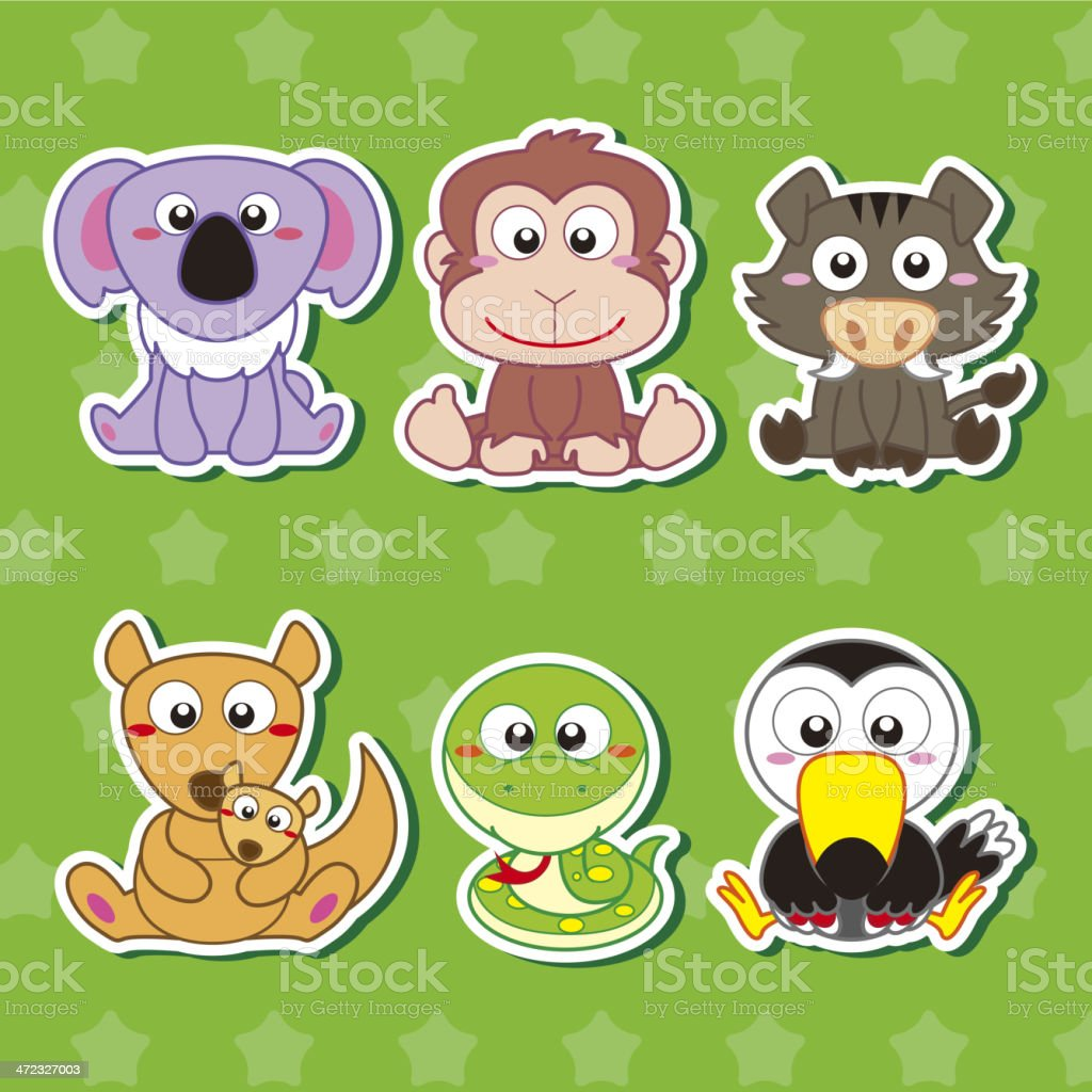 Cute animal stickers royalty-free stock vector art