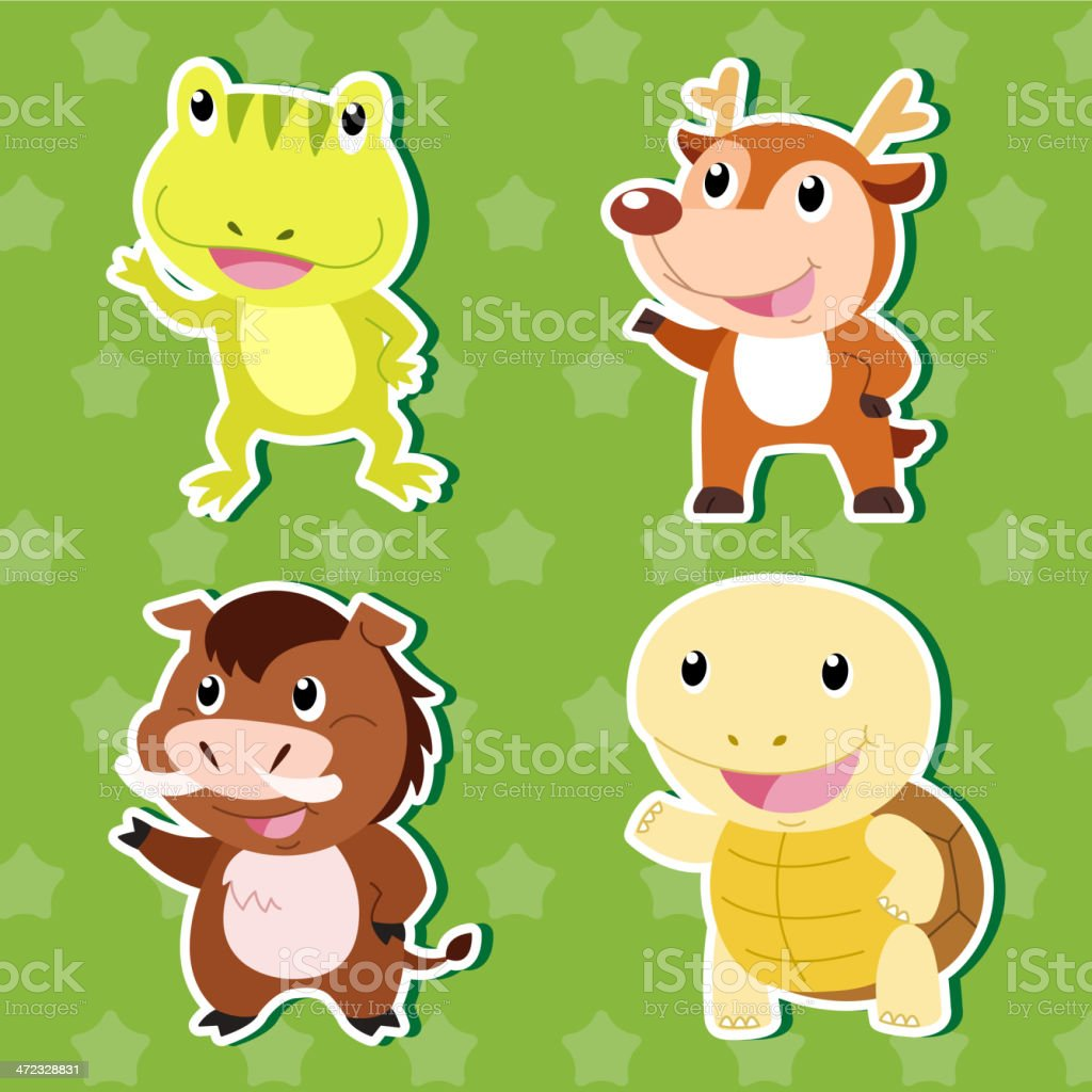 Cute animal stickers vector art illustration