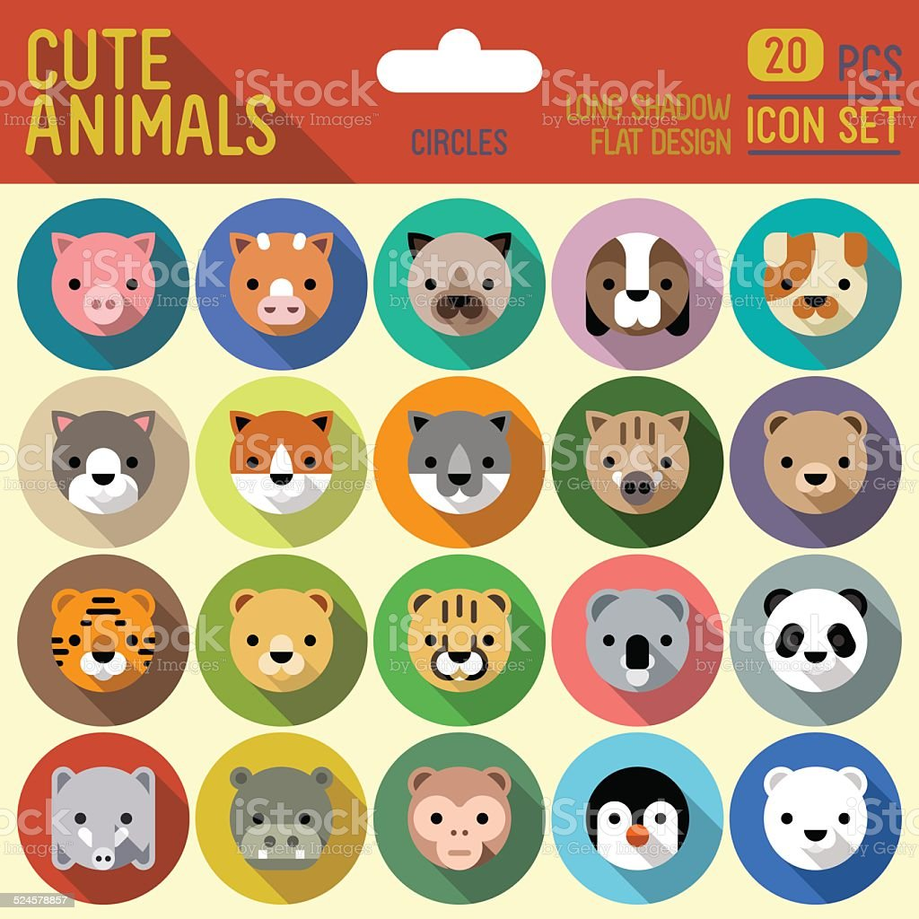 Cute animals circle icon set. Vector trendy illustrations. vector art illustration