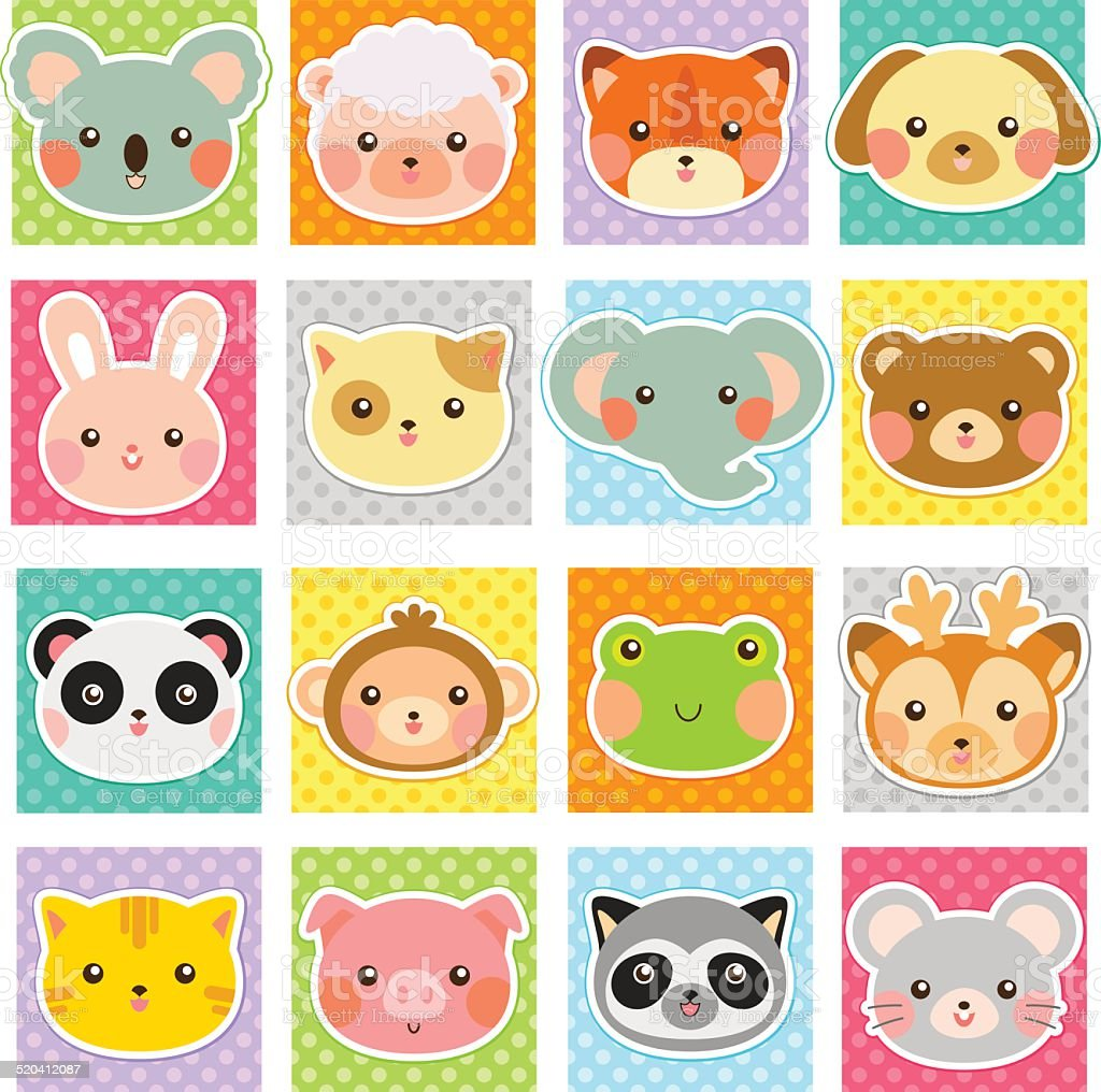 cute animals collection vector art illustration