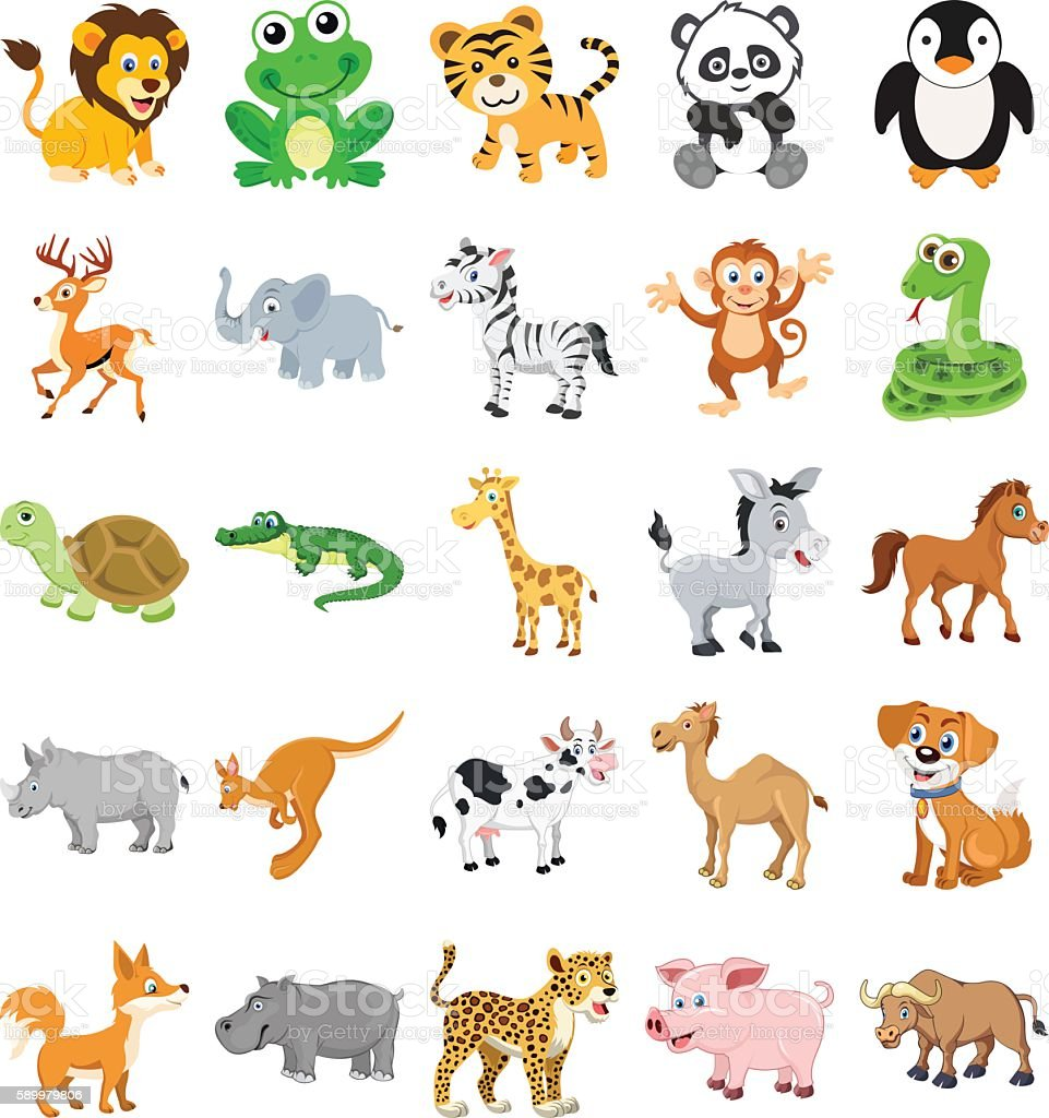 Cute Animals Colored Vector Icons 1 vector art illustration