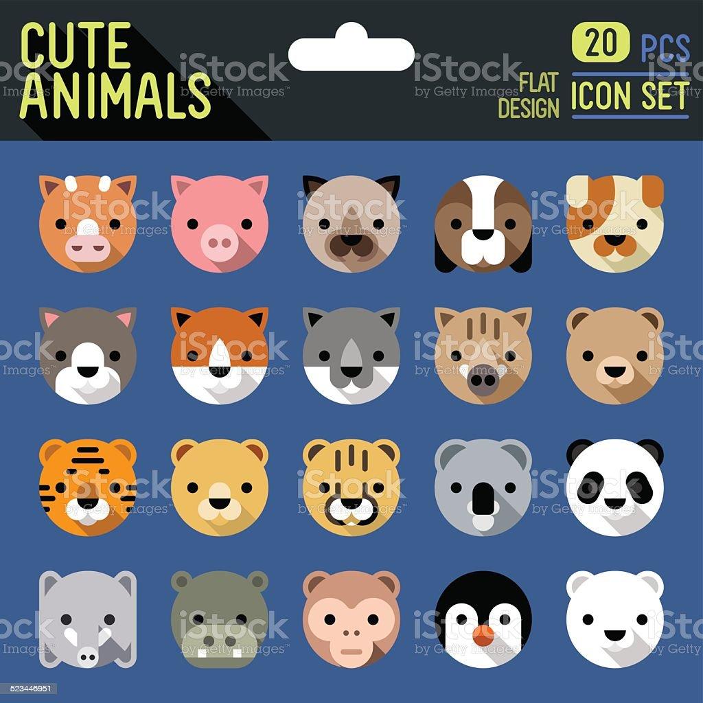 Cute animals flat long shadow icon set. Vector trendy illustrations. vector art illustration