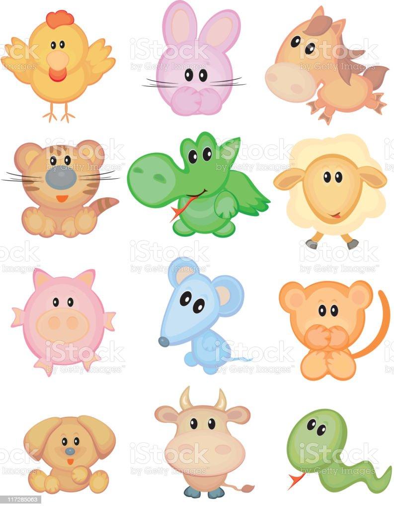 Cute animals, funny horoscope. royalty-free stock vector art