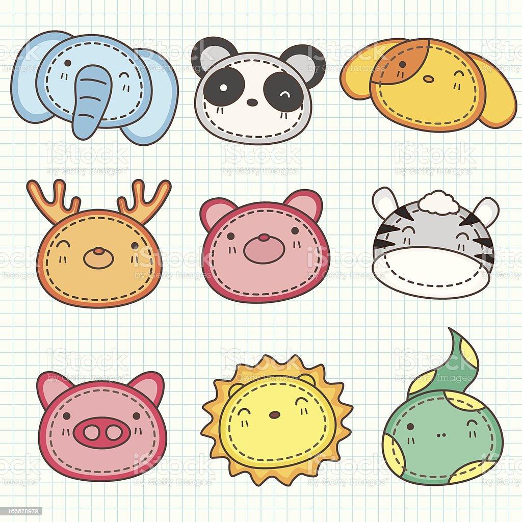 Cute animals head B royalty-free stock vector art