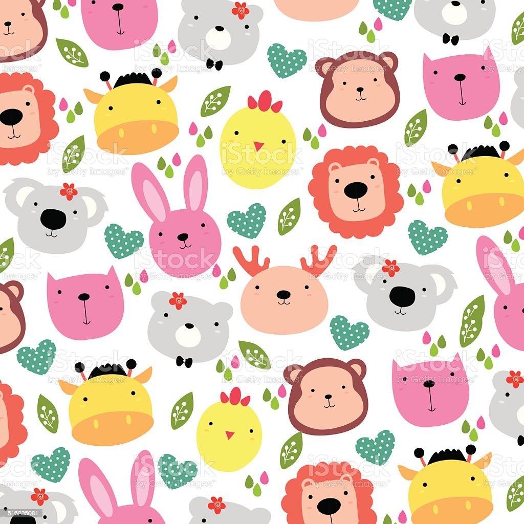 cute animals head background design vector art illustration