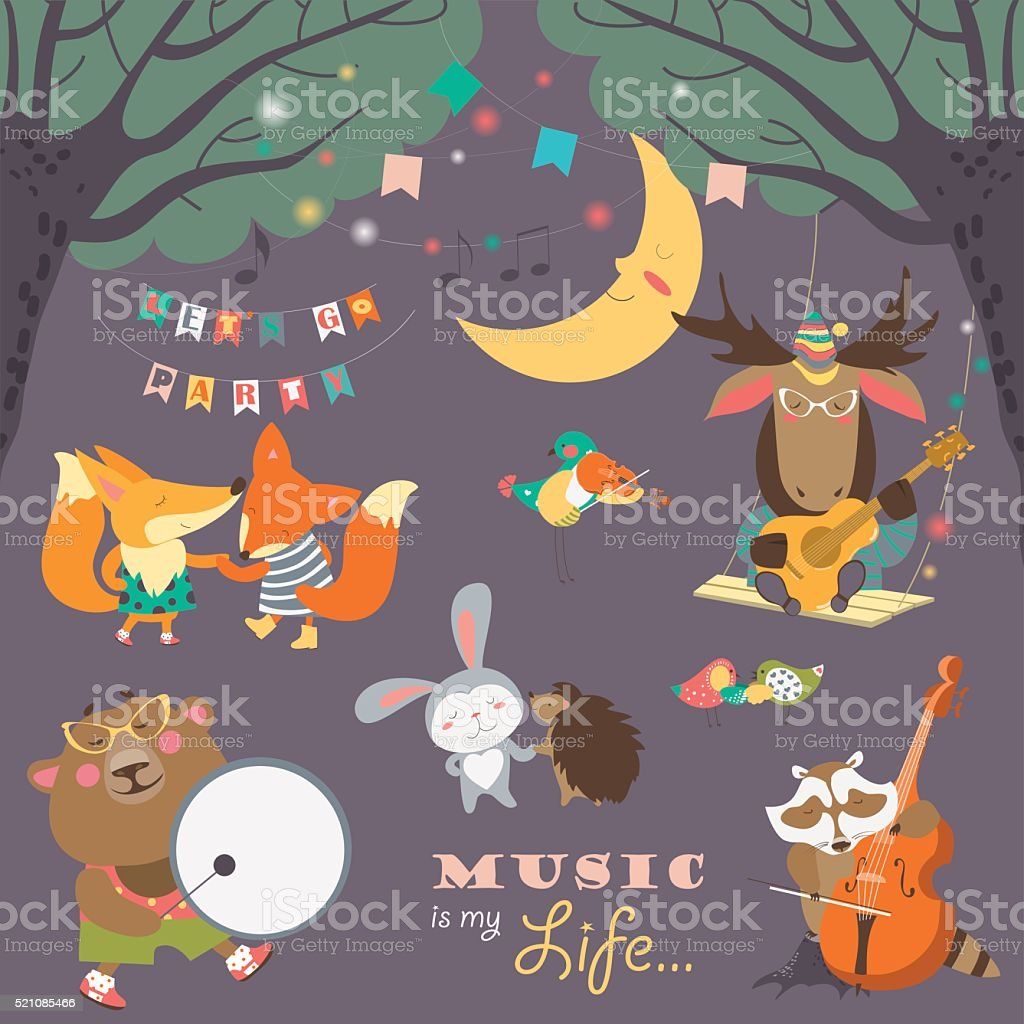 Cute animals musicians and dancers vector art illustration