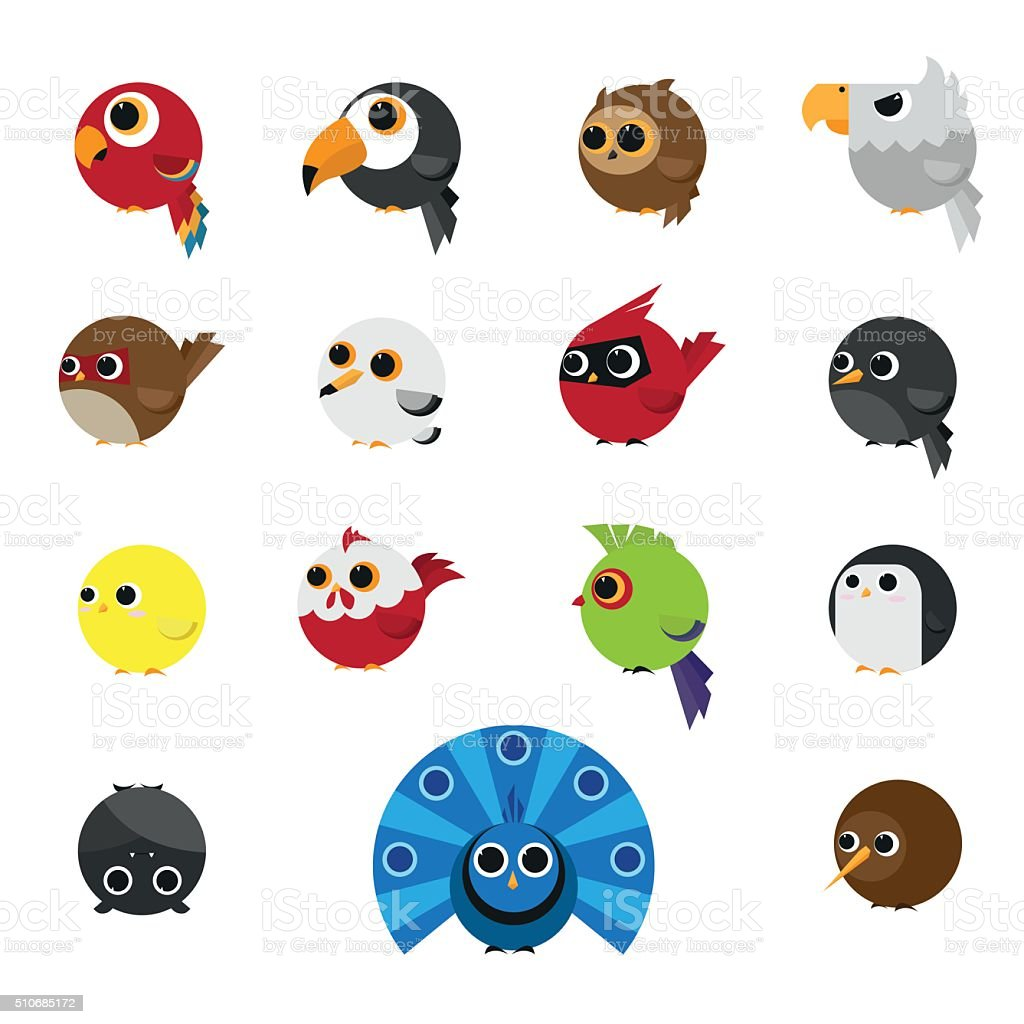 Cute Animals Set of Birds icon vector art illustration