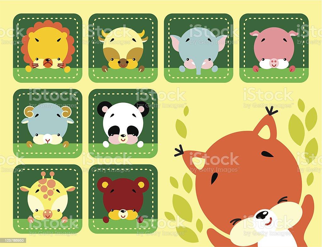 Cute animals set royalty-free stock vector art