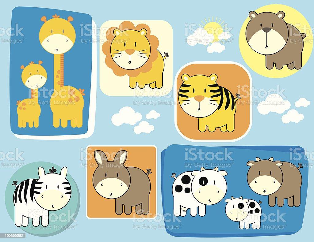 cute animals set stock photo