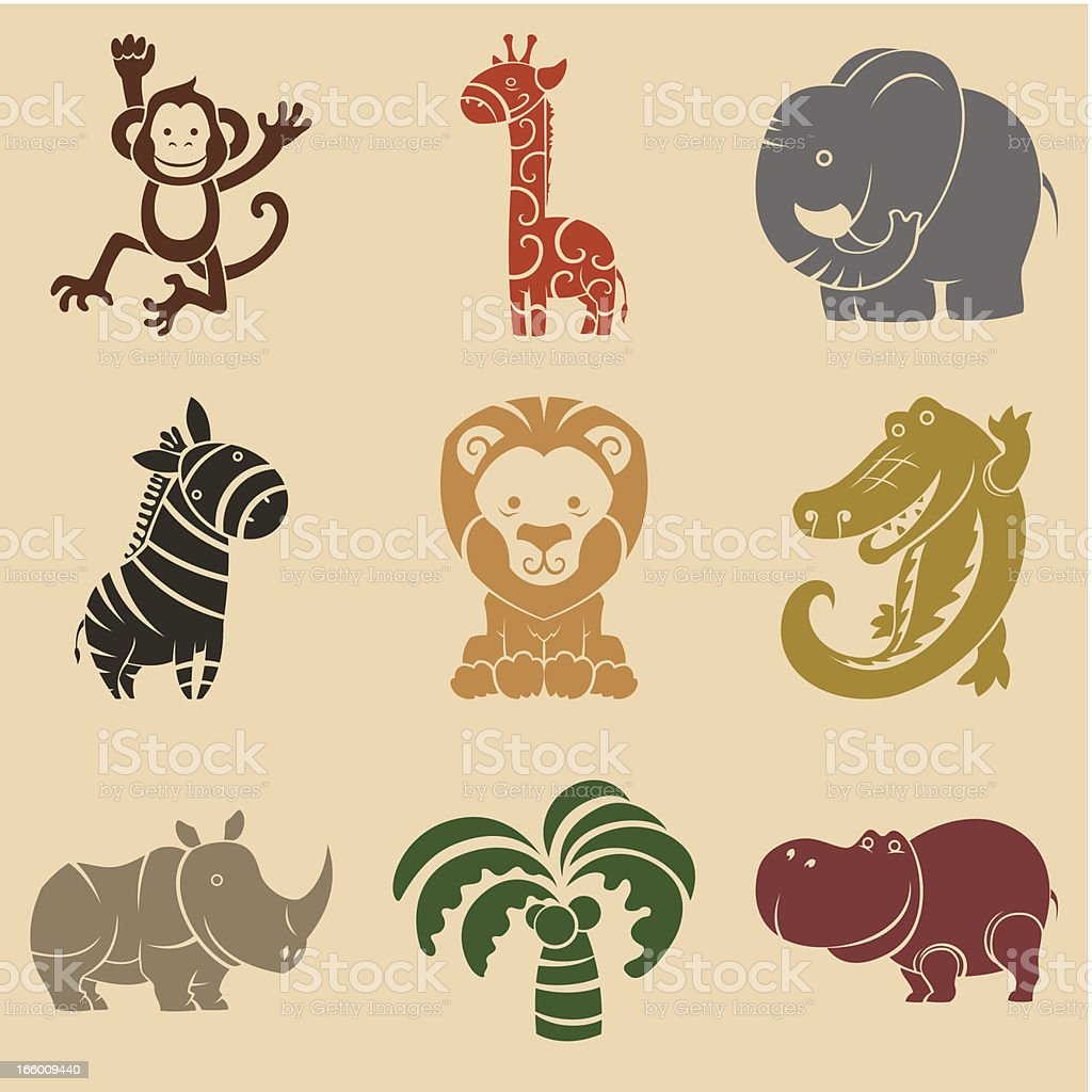 Cute animals set vector art illustration