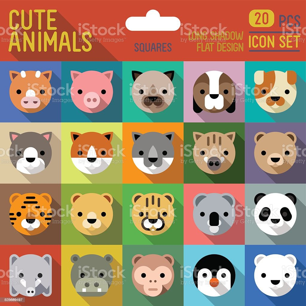 Cute animals square icon set. Vector trendy illustrations. vector art illustration