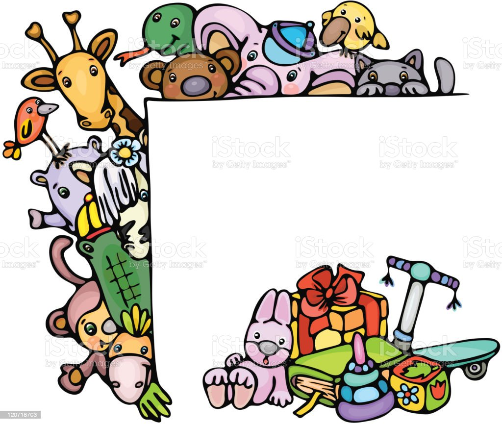 Cute animals stand by blank and toys. royalty-free stock vector art