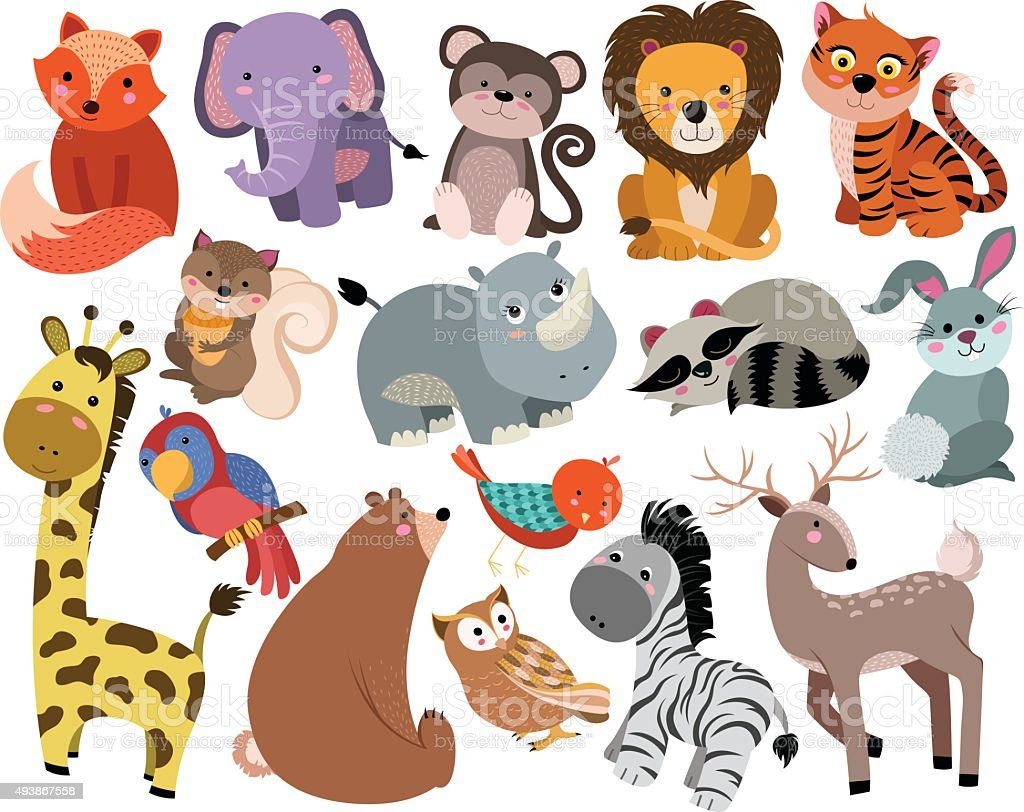 Cute Animals Unique Hand Drawn Vector Set vector art illustration