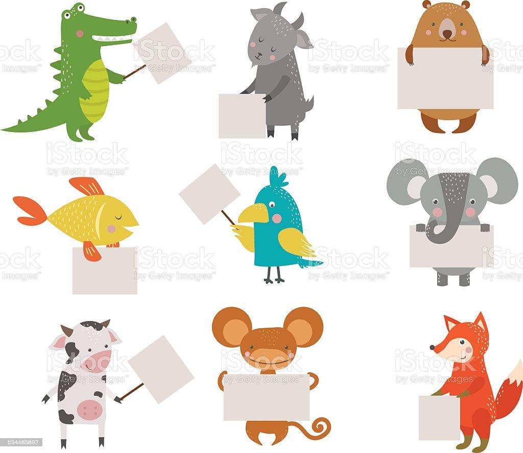 Cute animals vector character vector art illustration