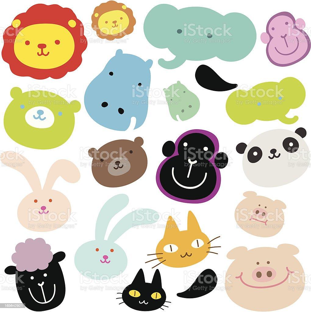 Cute Animals ( Emoticons ) royalty-free stock vector art