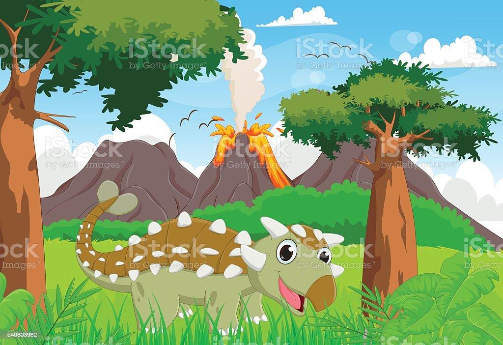 cute ankylosaurus with prehistoric background vector art illustration
