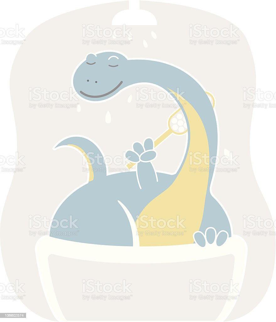 Cute apatosaurus taking shower royalty-free stock vector art