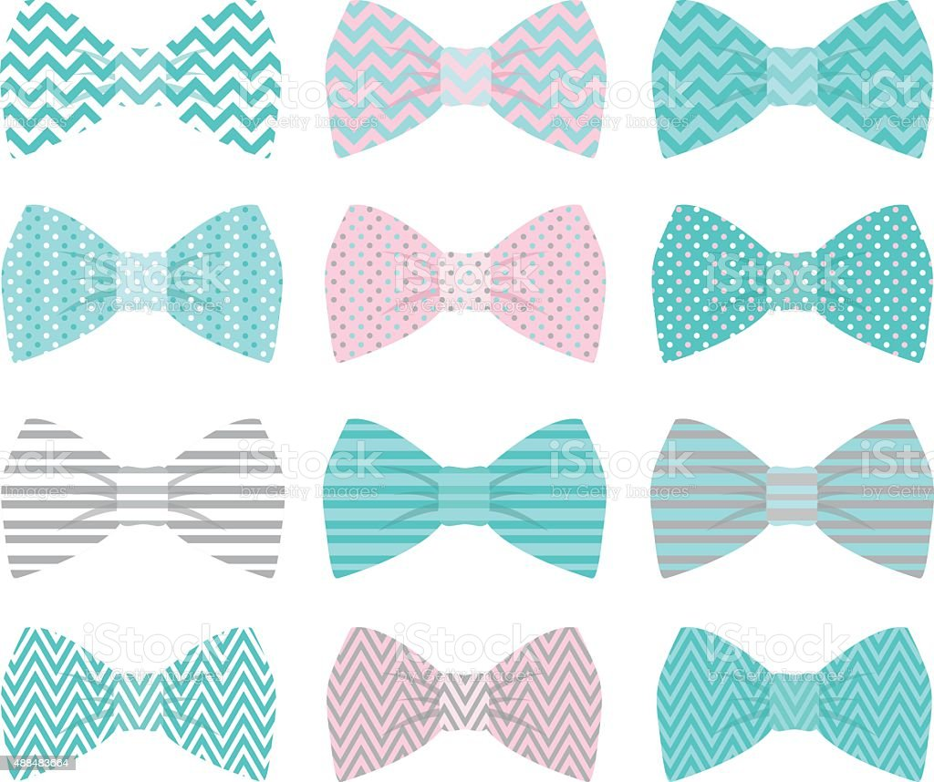Cute Aqua Bow Tie Collection vector art illustration