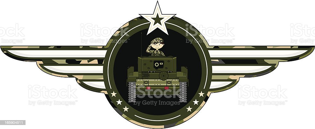 Cute Army Soldier in Tank Badge royalty-free stock vector art