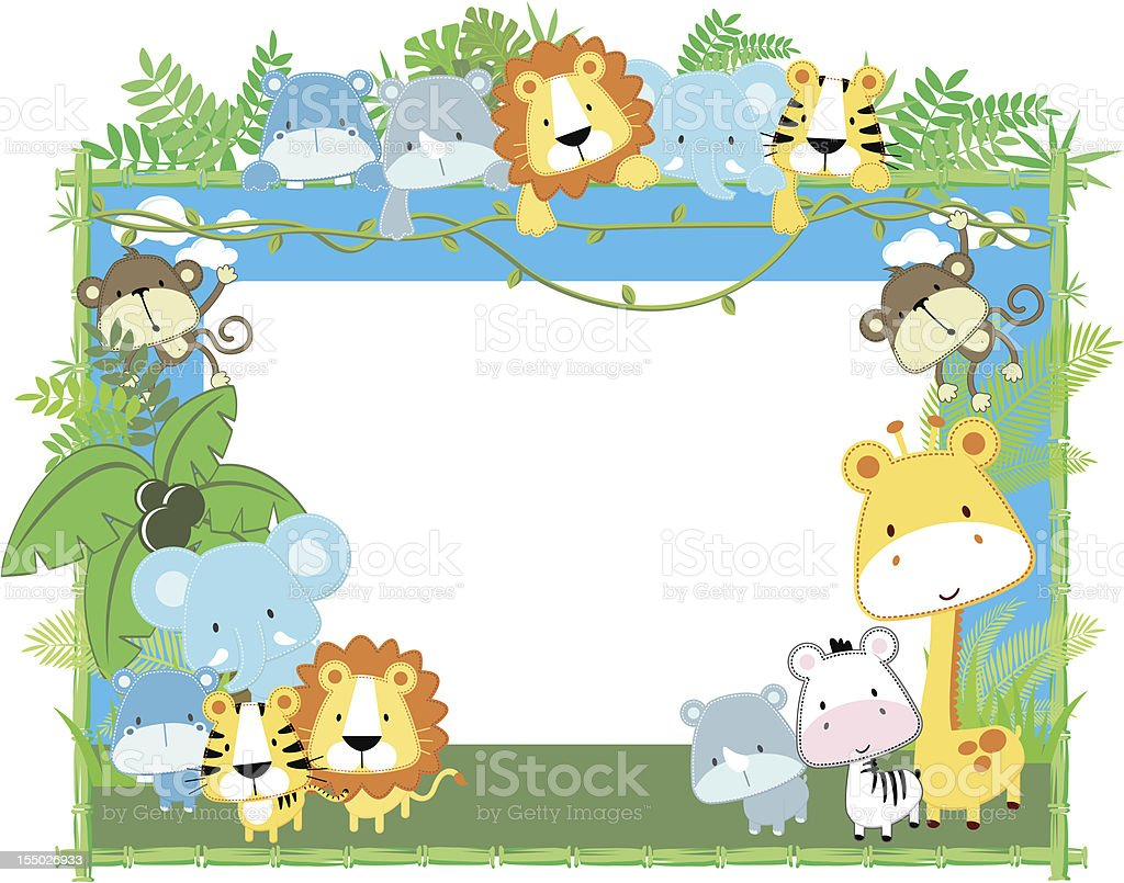 cute jungle baby animals jungle plants and bamboo frame, vector...