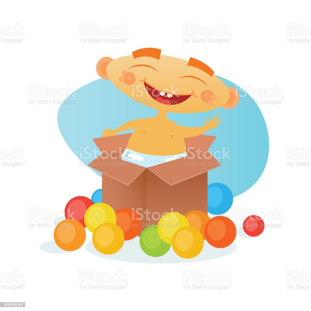 Cute Baby Boy Cheerful Toddler Happy Cartoon Infant In Diaper vector art illustration