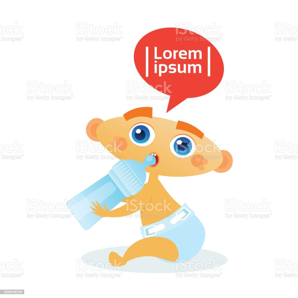 Cute Baby Boy Eating From Bottle Toddler Happy Cartoon Infant In Diaper vector art illustration