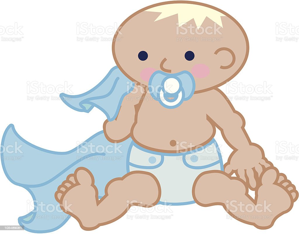 Cute baby boy with a pacifier and blanket vector art illustration