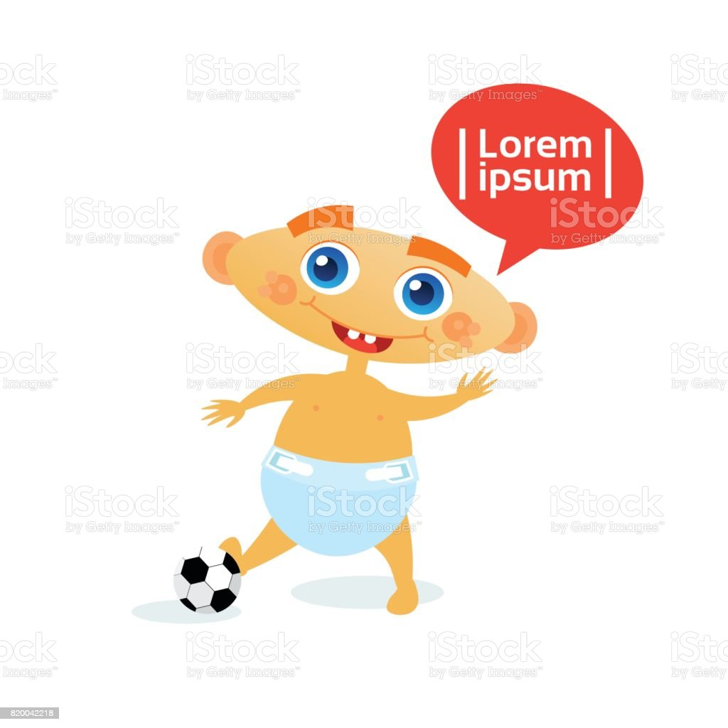 Cute Baby Boy With Football Ball Toddler Happy Cartoon Infant In Diaper vector art illustration