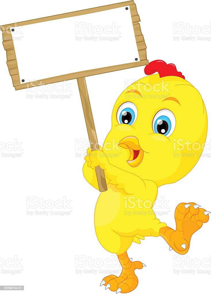 Cute baby chicken cartoon with blank sign vector art illustration