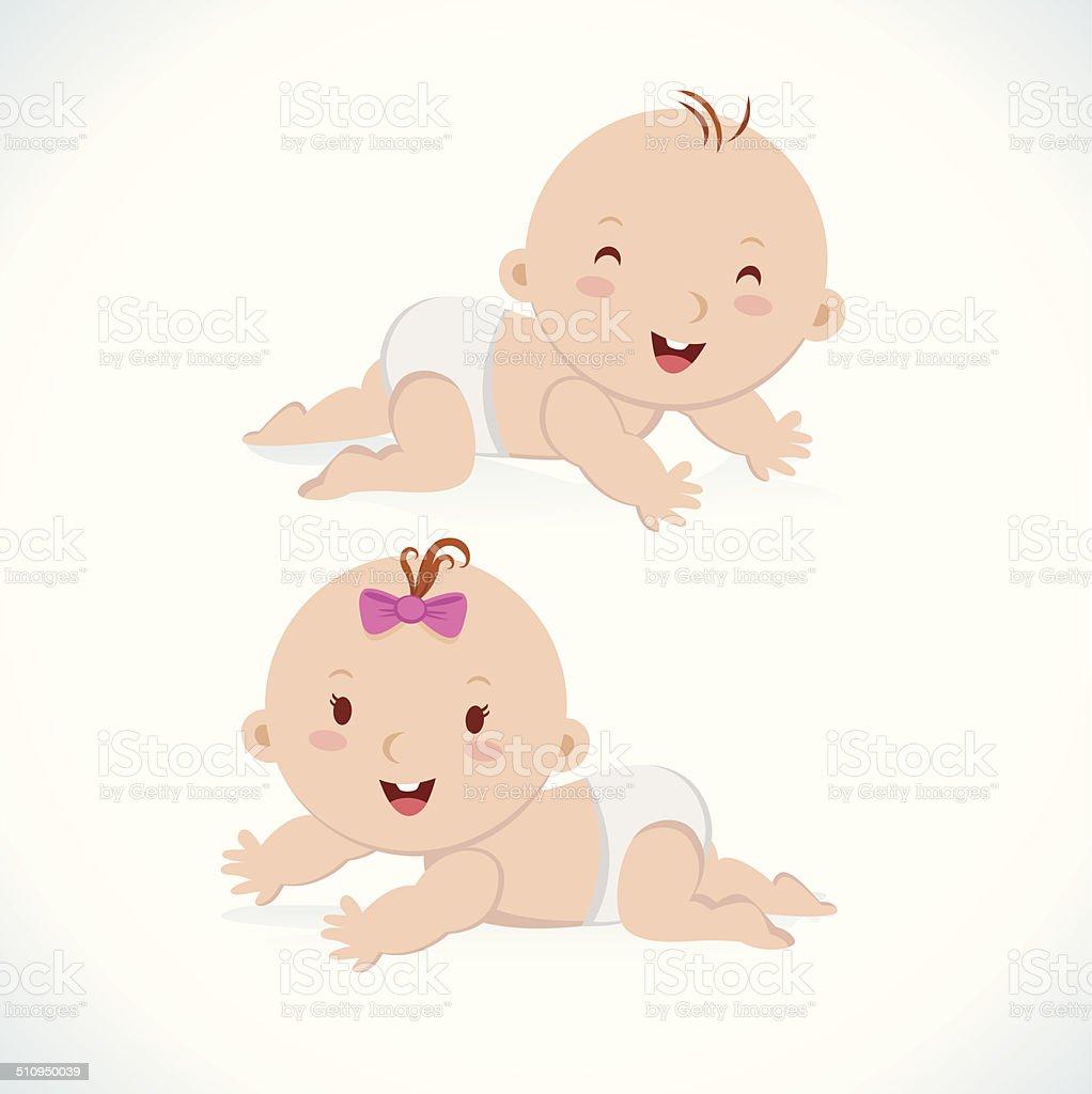 Cute baby crawling vector art illustration
