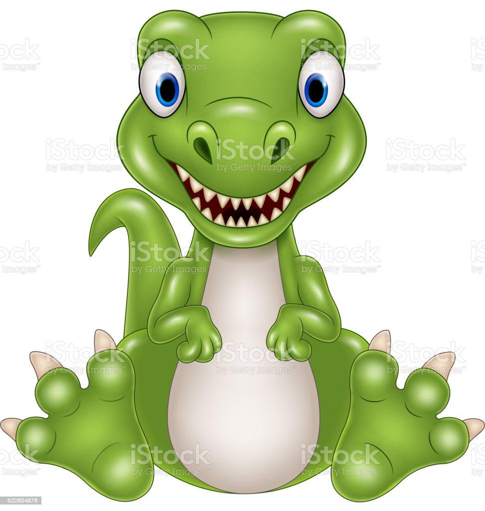 Cute baby dinosaur cartoon vector art illustration