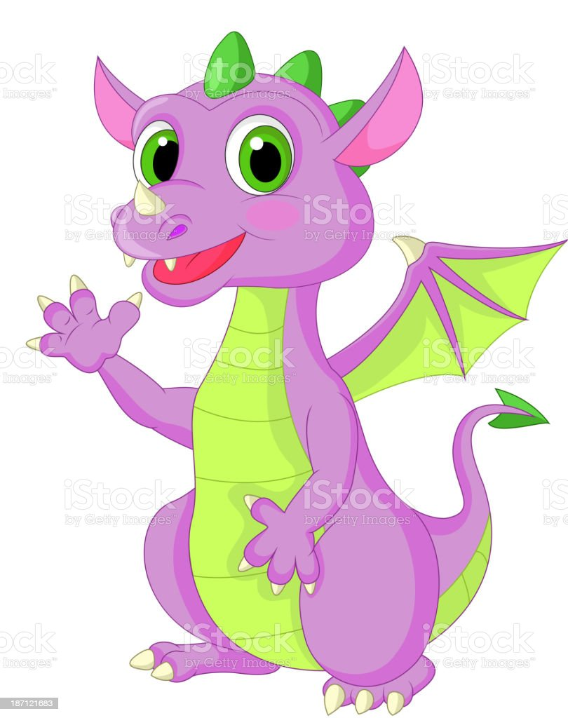 Cute baby dragon cartoon waving royalty-free stock vector art