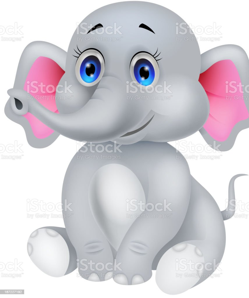 Cute baby elephant cartoon royalty-free stock vector art