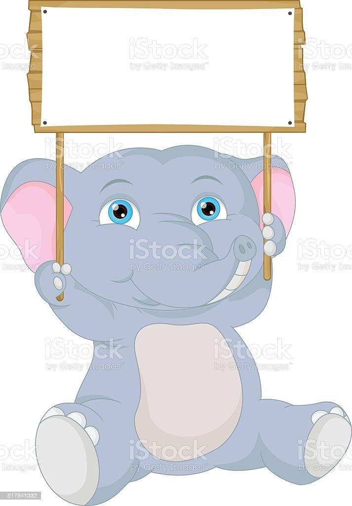 Cute baby elephant cartoon with blank sign stock vector - Fotos de elefantes bebes ...