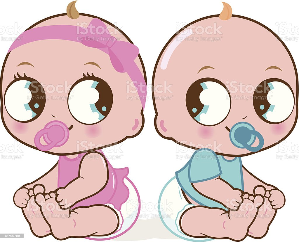 Cute baby girl and boy vector art illustration