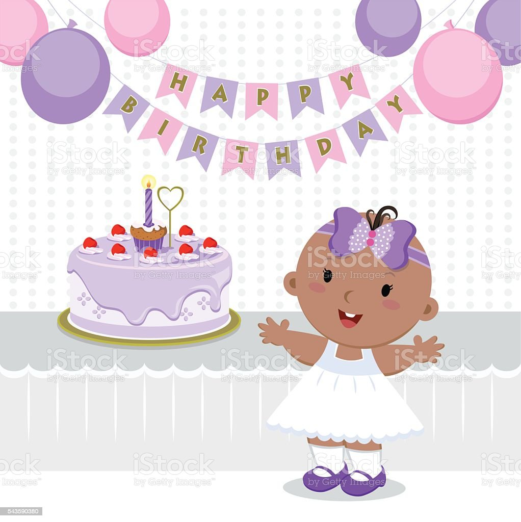 Cute baby girl birthday party vector art illustration