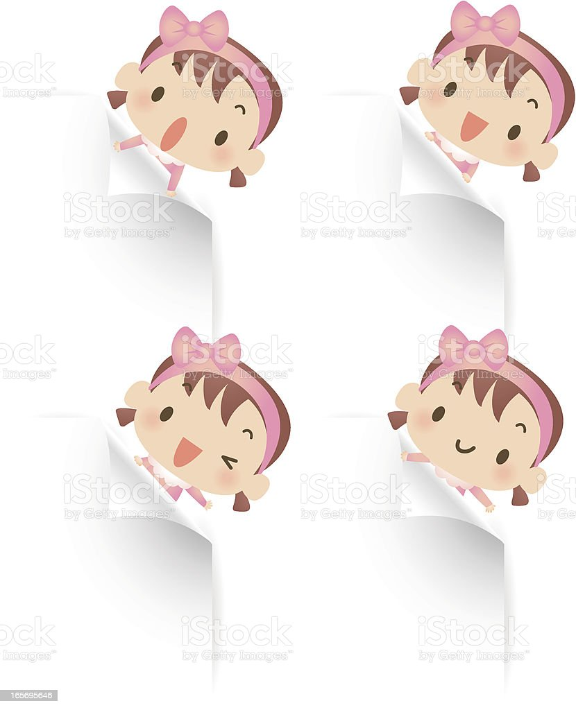 Cute baby girl holding blank sign showing something royalty-free stock vector art