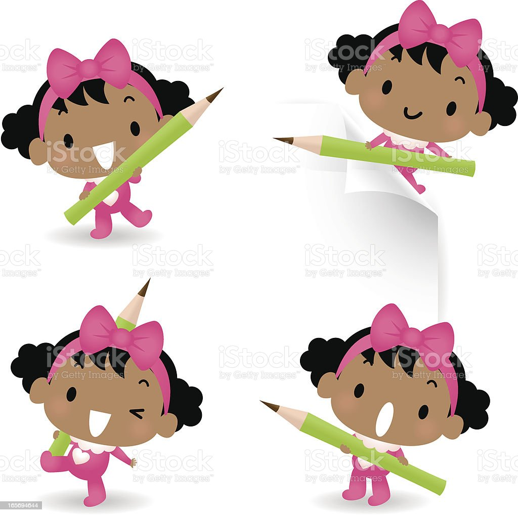 Cute Baby Girl Holding Pencil royalty-free stock vector art