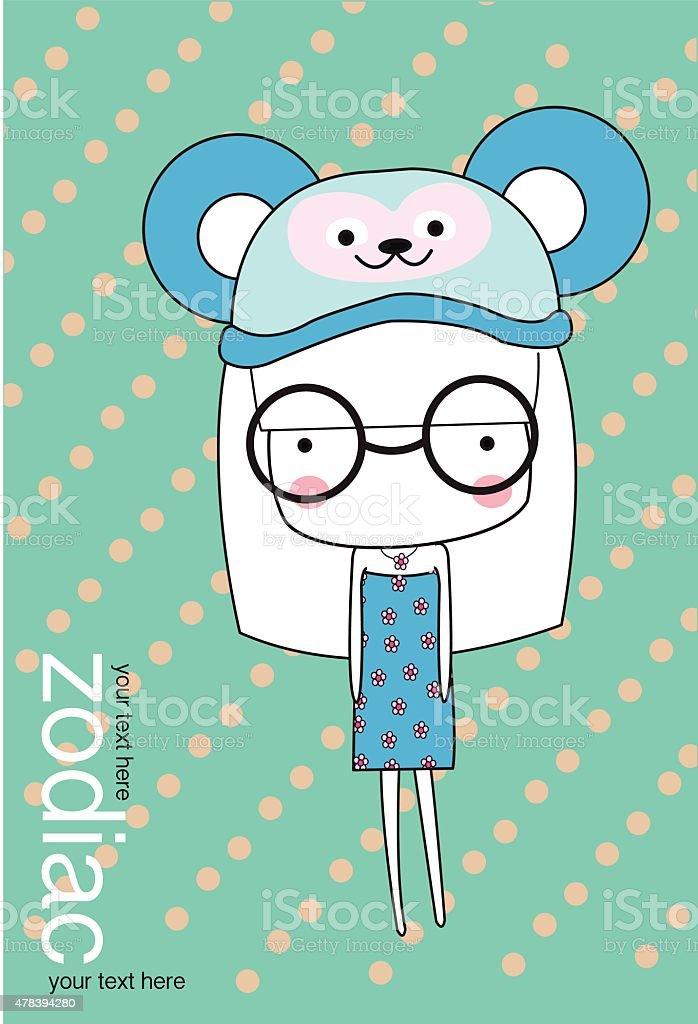 Ładny Baby Girl Ustaw Zodiaka stockowa ilustracja wektorowa royalty-free