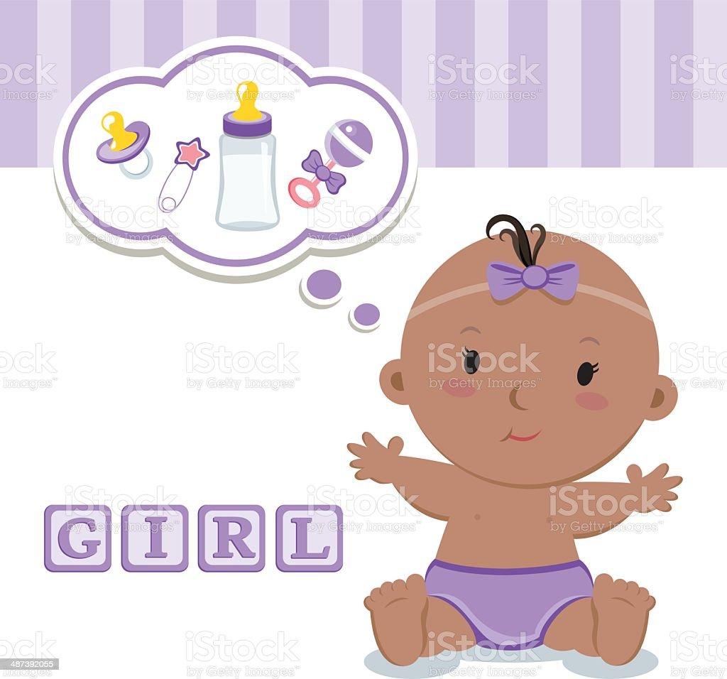 Cute baby girl vector art illustration