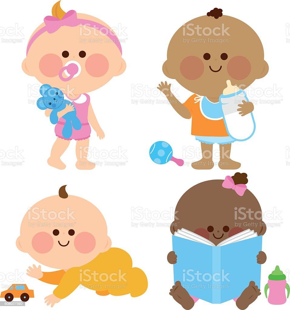 Cute baby girls and boys vector art illustration