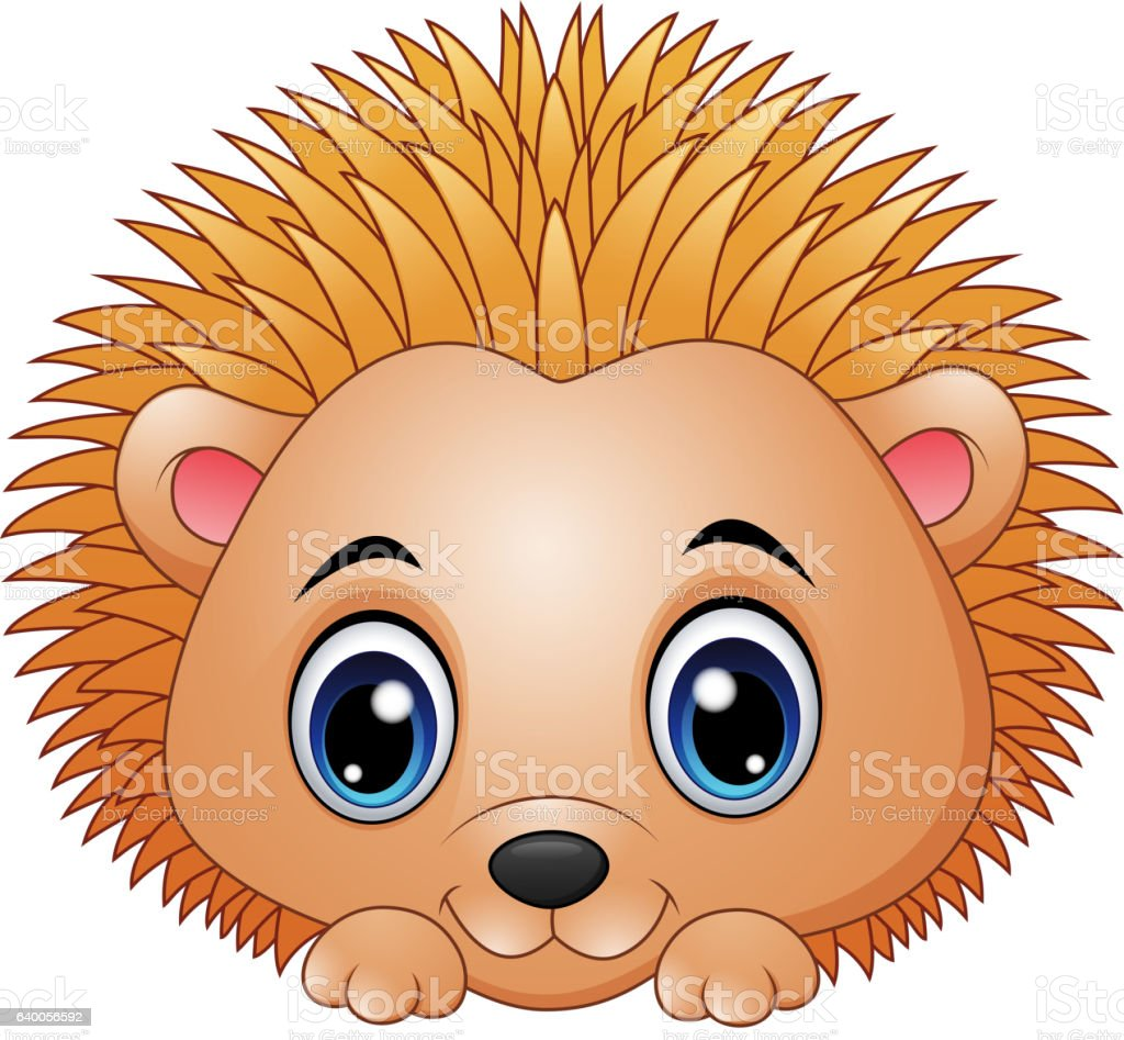 Cute baby hedgehog isolated on a white background vector art illustration
