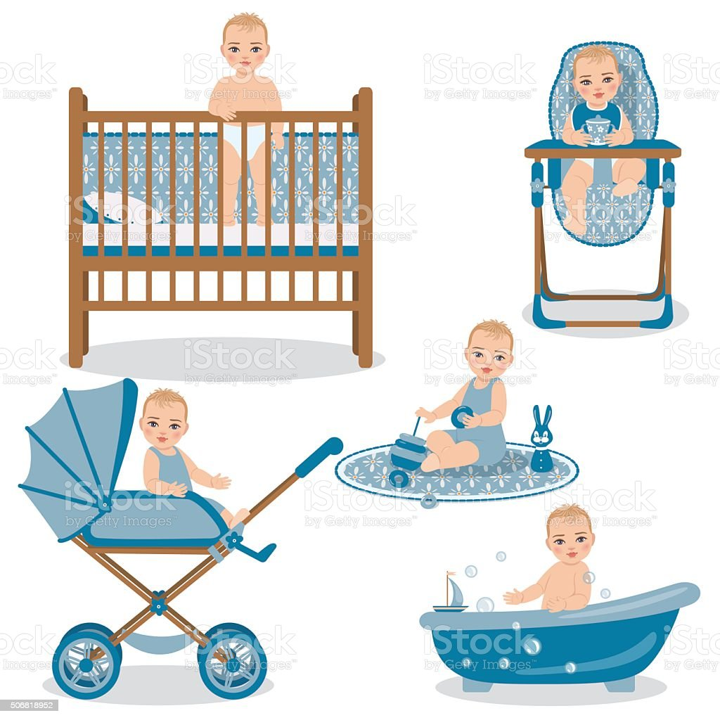 Cute Baby in Various Position Set. vector art illustration
