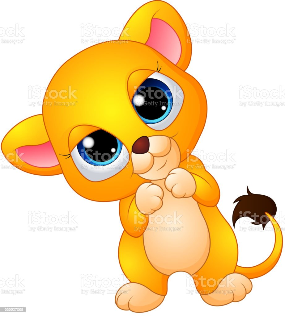 cute baby lion cartoon stock vector art 636507068 istock